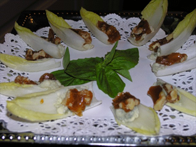 Belgian endive with caramelized walnut and bleu cheese